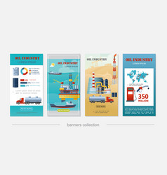 flat oil industry vertical banners vector image
