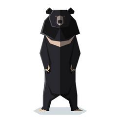 flat polygonal asian black bear vector image