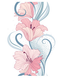 Floral seamless pattern flower lily border vector