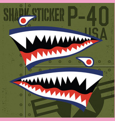 Flying tiger warhawk shark mouth sticker vinyl on vector
