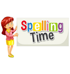 Font design for word spelling time with woman vector