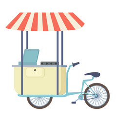 Food cart vending bicycle icon cartoon style vector