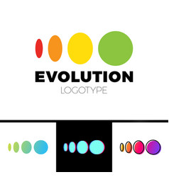 Four symbol from elipse to circle logo evolution vector