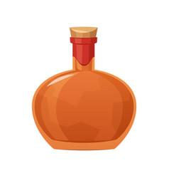 Glass bottle cognac on white background vector