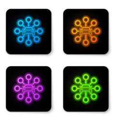 glowing neon car sharing icon isolated on white vector image