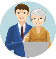 Grandsin and grandmother vector