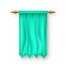 green pennat flag empty template banner vector image