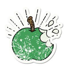 Grunge sticker tattoo style bitten apple vector