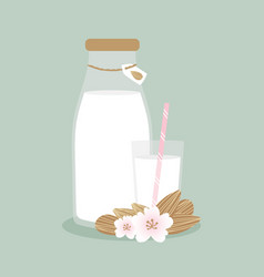 home made almond milk with almond seeds vector image