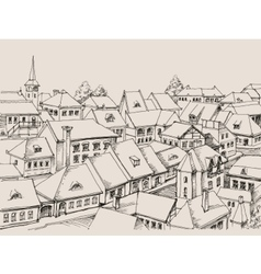 House roofs drawing small cityscape vector image
