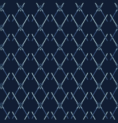 Indigo blue pattern cross net seamless vector