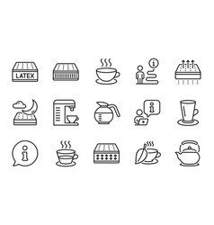 Interiors icons set included icon as cappuccino vector