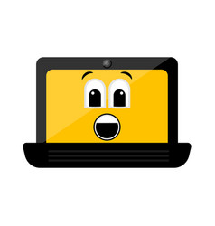 isolated surprised laptop emote vector image
