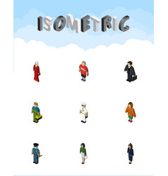 isometric person set of female plumber vector image