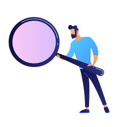 it expert holding a magnifier vector image