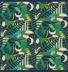 jungle pattern green abstract textured vector image