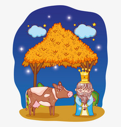 King wearing crown with cow and manger with stars vector