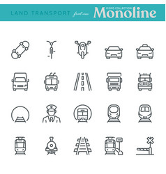 Land transport icons vector