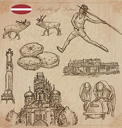 Latvia freehand hand drawn collection line art vector
