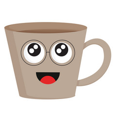 light brown smiling coffee cup with eye glasses vector image