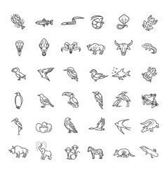 Line animals concepts thin icons set vector