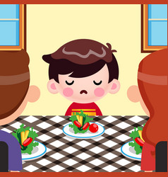 Little boy not want to eat vegetables vector