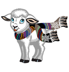 Little lamb wearing scarf vector