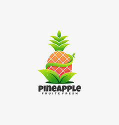 Logo pineapple gradient colorful style vector