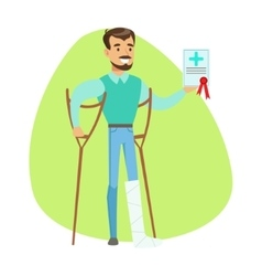 Man On Crouches Holding Health Insurance Contract vector