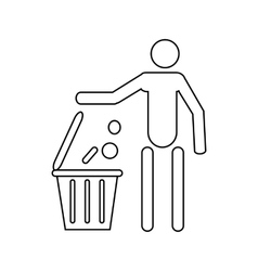 Man throwing garbage in a bin icon outline style vector image