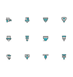 Metalworking lasers simple line icons set vector
