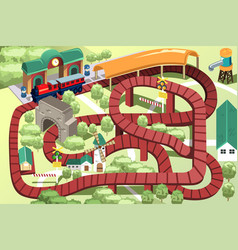 Miniature toy train track vector