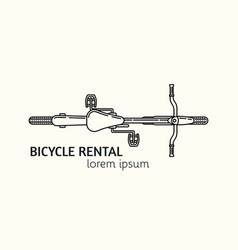 Modern linear style bicycle rental logotype vector
