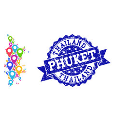 Mosaic map of phuket with map pointers and vector
