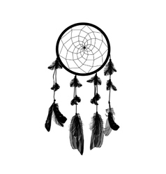 Naturalistic black dreamcatcher isolated on white vector