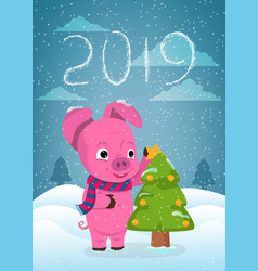 new year greeting card with funny pig cute pig vector image