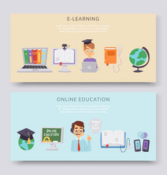 online education e-learning science vector image