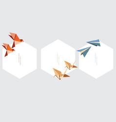 origami paper folding element set of geometric vector image