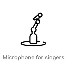 Outline microphone for singers icon isolated vector