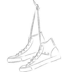 Pair of sneakers hanging on nail vector
