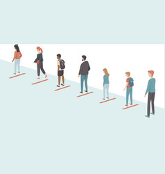 People ceeping distance in queue vector