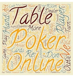 Poker Online Etiquette text background wordcloud vector image