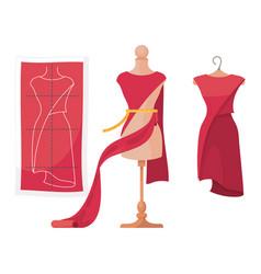 Process dressmaking red pattern dress vector