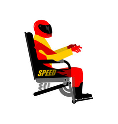 racer in chair isolated rider in helmet and vector image