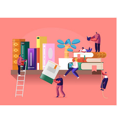 reading and education concept with tiny male vector image