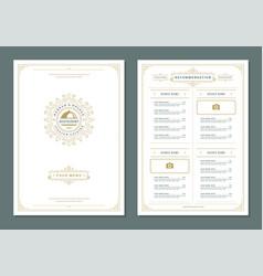 restaurant menu design and label brochure vector image