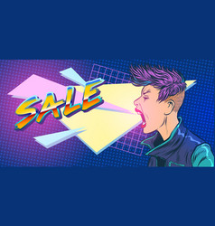 sale season 80s girl woman vector image