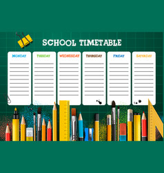 School timetable template for students or pupils vector