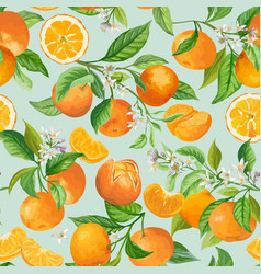 Seamless mandarin floral pattern fruit vector