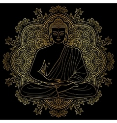 Seated meditating Gold Buddha vector